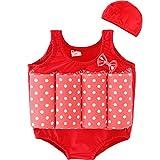 charmcz 男孩女孩游泳漂浮西装浮力儿童救生衣夏季训练泳装带泳帽 ARM floaties 适用于1–6Y