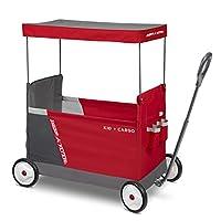 Radio Flyer 儿童与货物带遮篷的可折叠车带 2 个通用座椅,红色