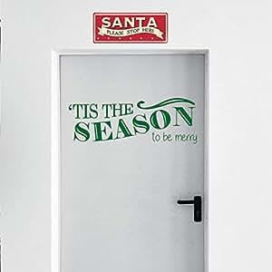 """乙烯基墙壁艺术贴花 - Tis The Season to Be Merry - 25.4 厘米 x 76.2 厘米 - 圣诞节季节性节日贴纸 - 室内室外家庭客厅卧室公寓办公室门装饰 绿色 10"""" x 30"""" TSTHESZN"""