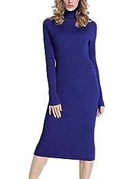 Rocorose 女士高领罗纹肘长袖针织毛衣连衣裙