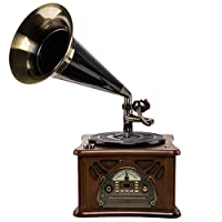 Roadstar - 1850tump 复古 - 音乐设备带唱机留声机风格 ( CD / mp3播放器, 磁带, USB, AUX - in, encoding - 功能, 35瓦音乐性能, 木质机箱 ), 棕色