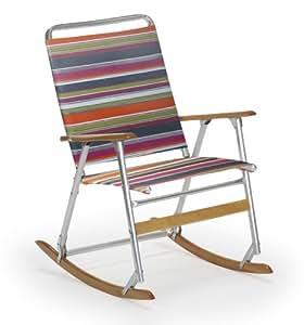 Telescope Casual High Back Folding Rocking Arm Beach Chair Techno Stripe