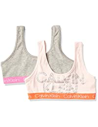 Calvin Klein 女童现代棉质文胸,多件装 2 Pack - Heather Grey/Crystal Pink Logo Medium