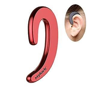 非耳塞蓝牙耳机无线耳机内置麦克风无线耳机便携袋重量轻,降噪无线耳机 适用于跑步驾驶商用 红色
