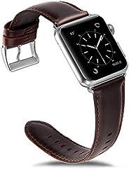Olixar Apple Watch 表带 42 毫米 / 44 毫米 - 真皮替换表带 - 兼容系列 5 / 4 / 3 / 2 / 1 - 棕色