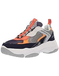Calvin Klein 男士 Marvin 运动鞋 Navy/Light Grey/Orange Nylon Suede 8.5 M US