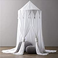 micialuxury 天盖婴儿床顶棚 床 蚊帐 窗帘 床上用品 圆顶帐篷 棉 白色