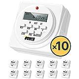 iPower GLTIMEDWEEK 可编程数字电动计时器双插座 白色 每包10条