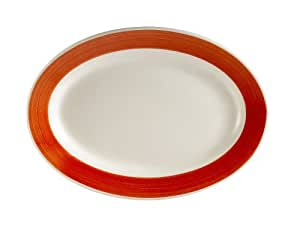 CAC China R-13-RED Rainbow Rolled Edge 11-1/2-Inch by 8-1/4-Inch Red Stoneware Oval Platter, Box of 12
