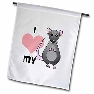 Janna Salak Designs 小宠物 - Love My Rat 灰色 - 旗帜 12 x 18 inch Garden Flag fl_10808_1