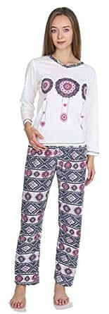 Kartex 女式长袖 V 领睡衣套装(麻色,XL 码)