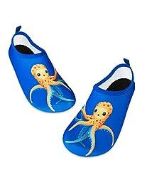 儿童水游泳鞋赤脚水袜鞋速干防滑婴儿男孩和女孩 Blue/Yellow Octopus 12.5-13 Little Kid