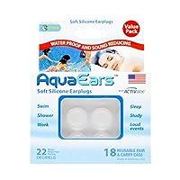 Aqua Ears® Soft Silicone Earplugs 18 Pair