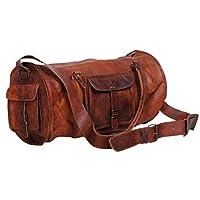 Brown 大号男士皮革复古行李箱周末健身房夜间旅行包