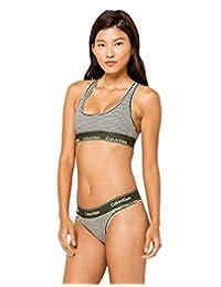 Calvin Klein Women's Modern Cotton Thong Panty, Marching Stripe, X-Small