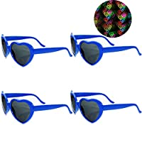 Awaqi 4 件装彩虹心形烟花扩散眼镜特别效果灯适用于户外音乐派对/酒吧/烟花展示/节日灯/俱乐部/音乐会灯