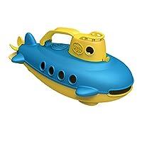 Green Toys玩具潛艇在黃色 藍色-不含BPA/鄰苯二甲酸鹽 浴缸玩具旋轉后螺旋槳 嬰幼兒安全玩具
