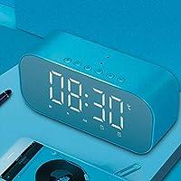 多功能蓝牙音箱立体重低音 闹钟时钟时尚创意镜子USB充电超长续航 (蓝色)