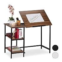 Relaxdays 桌面倾斜,3 个搁架,多个角度,电脑和工作台,HWD:75 x 110 x 55 厘米,颜色选择 Wood Look 75 x 110 x 55 cm 10026046_955