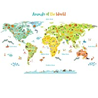 DECOWALL 彩色世界地图 儿童墙贴 墙贴 即剥即贴 可移除墙贴 儿童育儿卧室客厅 (1306N 1616N/S 1815 1816) Large 1815 1