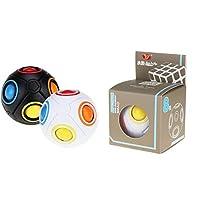 VERZABO 彩虹拼图球 2件套 魔力拼图球 魔力彩虹 拼图球 黑白 魔力彩虹球 拼图 玩具 彩虹魔力扭曲 拼图球 魔力彩彩虹球