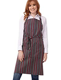 Chef Works Striped Bib Apron, 34-Inch Length by 24-Inch Width Grey, Charcoal and Red Stripe 34-Inch Length by 24-Inch Width