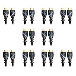 C&E 高速 HDMI 电缆支持以太网,3D 和音频回归,*新标准CNE455308 10 件装 10 feet