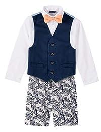 IZOD 男童小童 4 件套,配礼服衬衫、蝴蝶结、短裤和背心