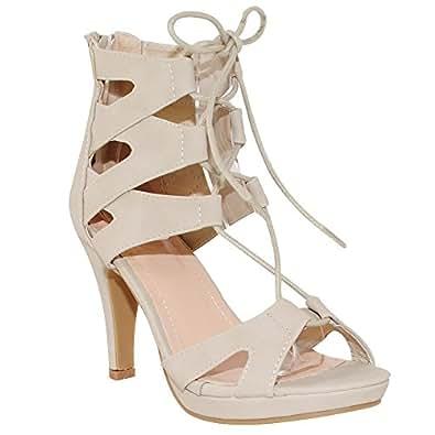 TRENDSup 系列女士时尚角斗士系带凉鞋 米色 8.5 M US