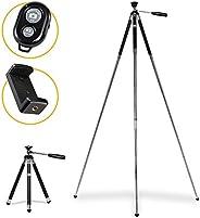 KODAK PhotoGear 42英寸三脚架 | 8段铝制不锈钢三脚架带蓝牙遥控器,伸缩腿锁高度调节,360°球头,橡胶脚,智能手机适配器电子指南和手提箱