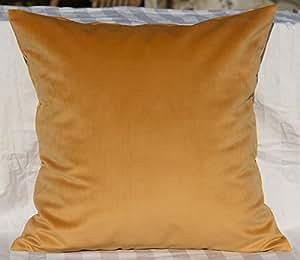 "TangDepot 纯色天鹅绒抱枕套/欧式枕套/沙发,超豪华柔软枕套,多种颜色和尺寸可供选择 咖啡色(Caramel) 12"" x 12"" TPCover-SolidVelvet-12x12Caramel"