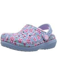 Crocs 儿童男孩和女孩经典图案紫红色内衬洞洞鞋,室内或室外保暖幼儿拖鞋选项