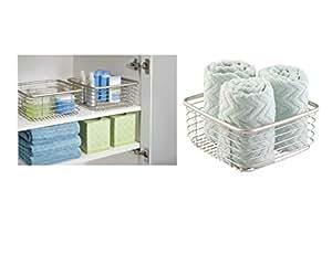InterDesign Forma Ultra Wire Home Storage Basket - Square, Satin