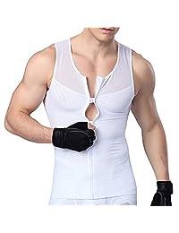 MASS21 男士修身塑身衣 带拉链衬衫 上衣 紧身 网眼 尼龙压缩 T 恤