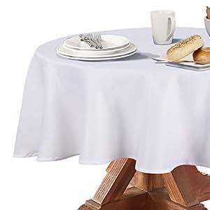 Obstal 210GSM 圆形桌布,防水超细纤维桌布,装饰性面料圆形桌布,适合室外和室内使用(香槟色,直径 60 英寸) 白色 60 Inch 20bt-J-plain-60-white