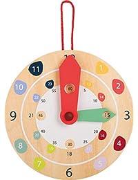 小脚木制玩具教学时间挂钟教育*玩具专为 4 岁以上儿童设计
