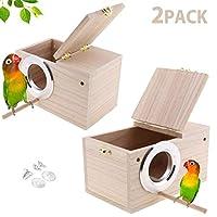 Hamiledyi 鹦鹉鸟巢箱 2 件装 鸟屋 Budgie 木质育儿箱 适合爱鸟、鹦鹉情侣箱