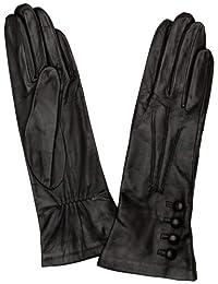 Dents 女士丝绸衬里皮革手套