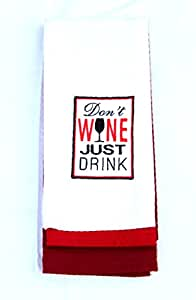 DEI the Vineyard 棉质刺绣*红色毛巾 3 件套 白色/红色 均码