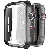 Misxi 黑色硬質保護殼兼容蘋果手表系列 5 系列 4 44mm 帶屏幕保護膜,超薄硬質 PC 保護殼超薄鋼化玻璃屏幕保護膜,適用于 iwatch 系列 5/4