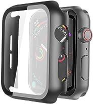 Misxi 黑色硬质保护壳兼容苹果手表系列 5 系列 4 44mm 带屏幕保护膜,超薄硬质 PC 保护壳超薄钢化玻璃屏幕保护膜,适用于 iwatch 系列 5/4
