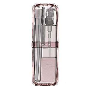 AINAAN 便携式牙刷杯 8 合 1 洗漱套装存储盒、牙刷和牙膏淋浴凝胶洗发水梳旅行套装化妆品架 粉红色 2019
