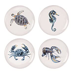 珊瑚色系列,各种装饰盘子(4 件套),白色 Set of 4, Assorted COMINHKPR120432