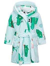 男孩女孩浴袍(2 个幼儿-12 岁),幼儿儿童连帽长袍毛绒柔软珊瑚绒睡衣男孩女孩睡衣