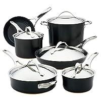 Anolon Nouvelle 铜硬质阳极氧化不粘锅锅锅和平底锅套装,11件,缟玛瑙