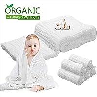 6 件套婴儿毛巾棉布套装 - 5 件毛巾和 1 件大婴儿毯浴巾 6 层 * *级棉纱,天然*,吸水,超柔软