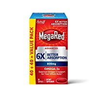 MegaRed 高級三重吸收 - 歐米伽 3 魚油補充劑 80 softgels, 800 mg 80