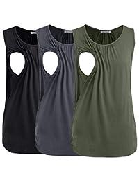 Smallshow 女式孕妇哺乳背心哺乳服 3 件装