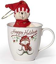 Pfaltzgraff Winterberry Porcelain Mug with Stuffed Bear (20-Ounce)