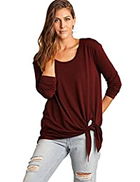 Umgee USA 女式轻型针织长袖上衣开叉鲨鱼边和侧腰领带毛衣 S 码/栗色